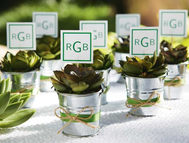 Give your wedding day a natural vibe. Fill silver pails with succulents, surround with moss and finish with decorative ribbon and twine. These earthy keepsakes make great gifts for guests after the event.