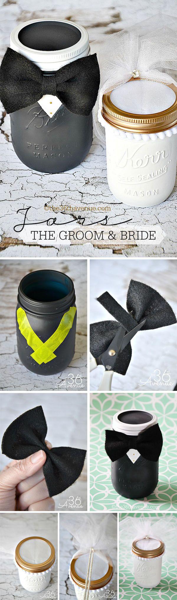 the groom and bride wedding mason jar gifts