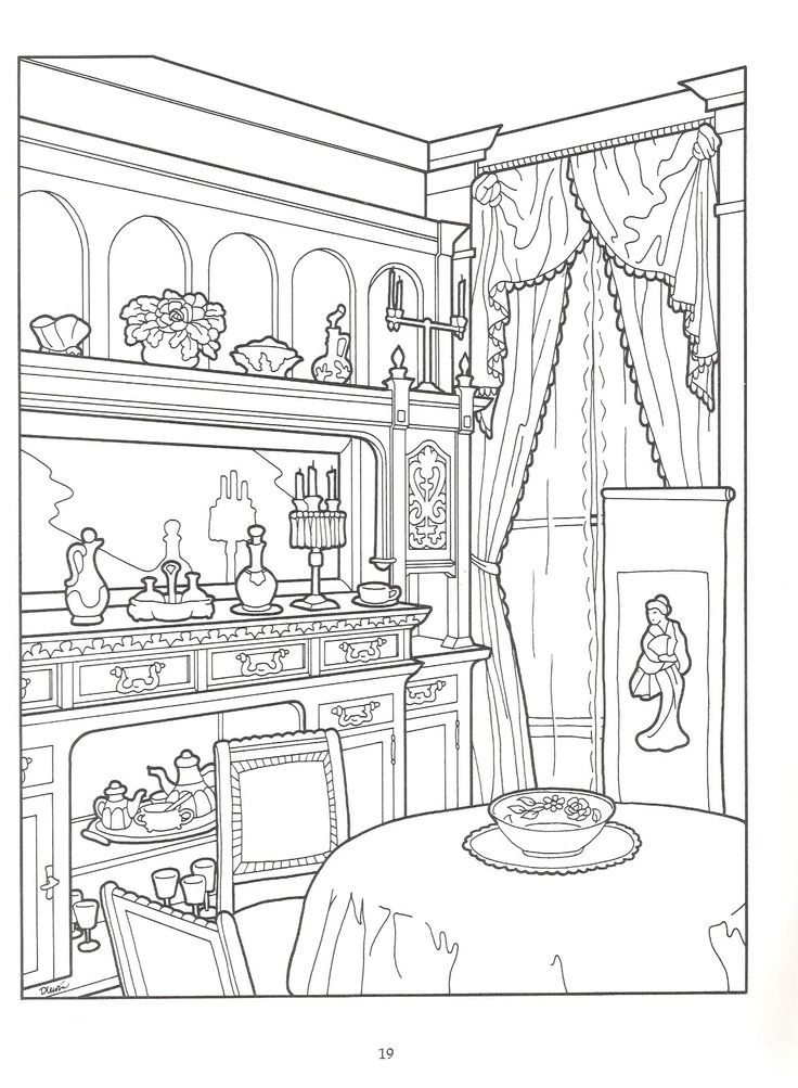 Dining Room In Victorian House Intricate Coloring Pages