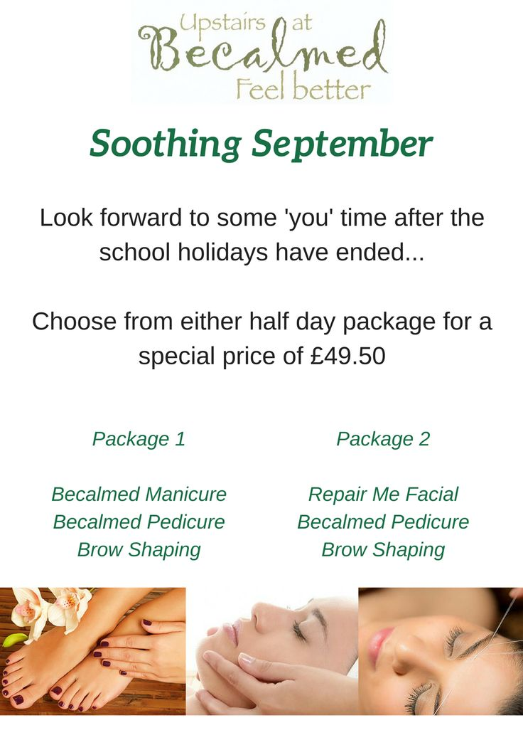 Soothing September Special Offer  Choose either of the 1/2 day packages for £49.50