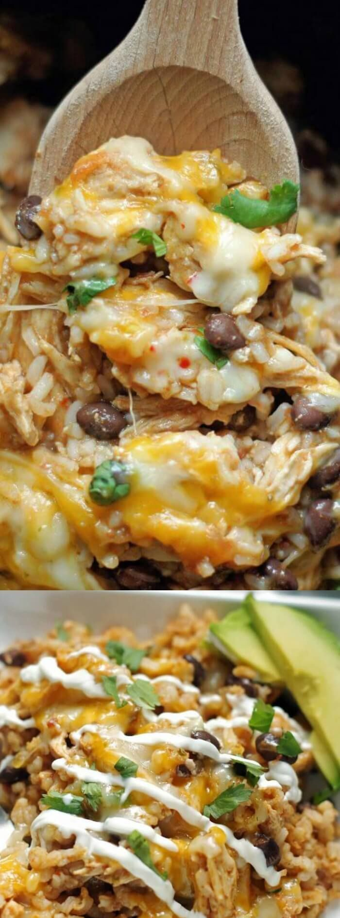 """Slow Cooker Spicy Chicken and Rice dinner recipe is full of flavors and just the right amount of """"heat"""". It's simple to make and will become a favorite!!! via @bestblogrecipes"""