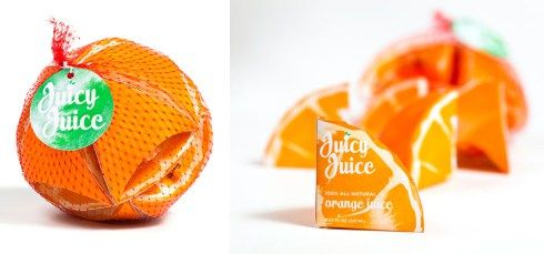 When I first saw these pictures of Preston Grubbs's orange-colored, orange-shaped juice box concept, it reminded of other packages, designed to resemble their contents. (Or their origins.) We've seen packages shaped like whole oranges and packages shaped like half an orange and, at first, what I thought I was seeing here were juice boxes shaped like an 1/8 of an orange. But that's not right. The net bag contains 10 pieces. As if an orange were cut into 5 longitudinal, spherical wedge shaped…