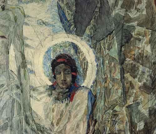 771832.jpg (500×430)Михаил Александрович Врубель. Голова ангела. 1889. Фрагмент композиции «Воскресение». Бумага, акварель, графитный и угольный карандаши. ГТГ