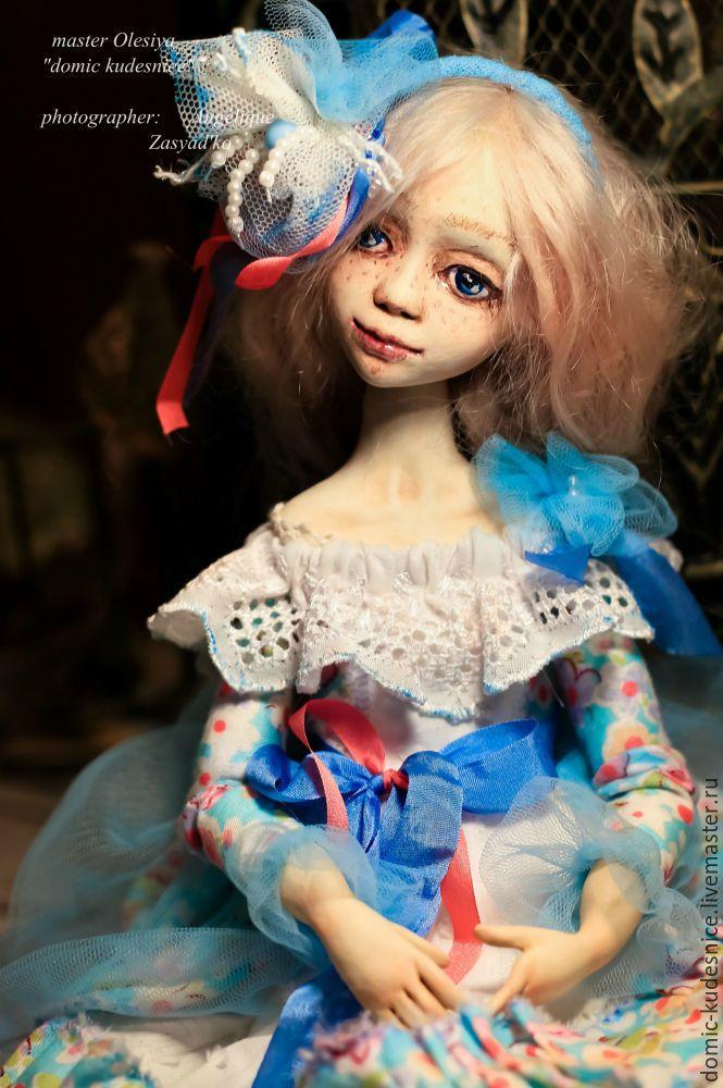 Купить Авторская коллекционная будуарная кукла Василина - голубой, подарок, интерьерная кукла, авторская кукла