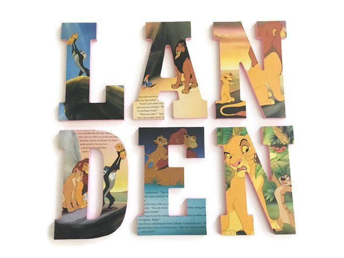 Lion King Nursery - Nursery Wooden Letters - Lion King Nursery Decor - Lion King Baby Shower - Baby Wood Letters - Nursery Wall Hangings by LittleLunaStation on Etsy https://www.etsy.com/listing/293696595/lion-king-nursery-nursery-wooden-letters