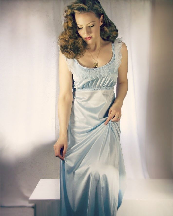 Lilly Jarlsson - Ice blue vintage nightgown.