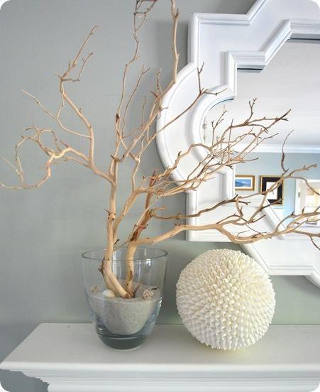 Great DIY decorating blog. Beautiful stuff, like this manzanita branches and shell ball