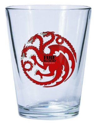 Dark Horse Deluxe Game of Thrones Shot Glass: Targaryen Sigil by Dark Horse Deluxe. $9.78. From the award-winning HBO series. Bears the sigil of the prominent Westeros house. Officially licensed. From the Manufacturer                We are beginning a line of glassware featuring the house sigils from HBO's award winning television series Game of Thrones. The first offering includes a pint glass, a shot glass, and an impressive ceramic stein from the houses of Sta...