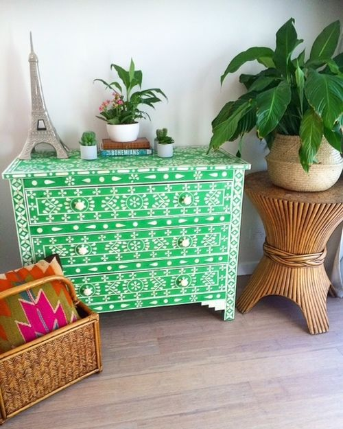 Green bone inlay drawers