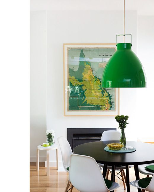 Green Jielde light in the home of Zoe Murphy.: Dining Rooms, Emeralds Green, Color, Interiors, Vintage Maps, Green Pendants, Green Lamps, Design File, Green Lights