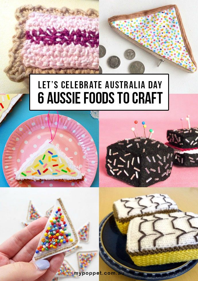 Australia Day Craft - Celebrate Australia Day by crafting some typical Aussie treats - mypoppet.com.au Includes Play food, coin purse and pincushion patterns