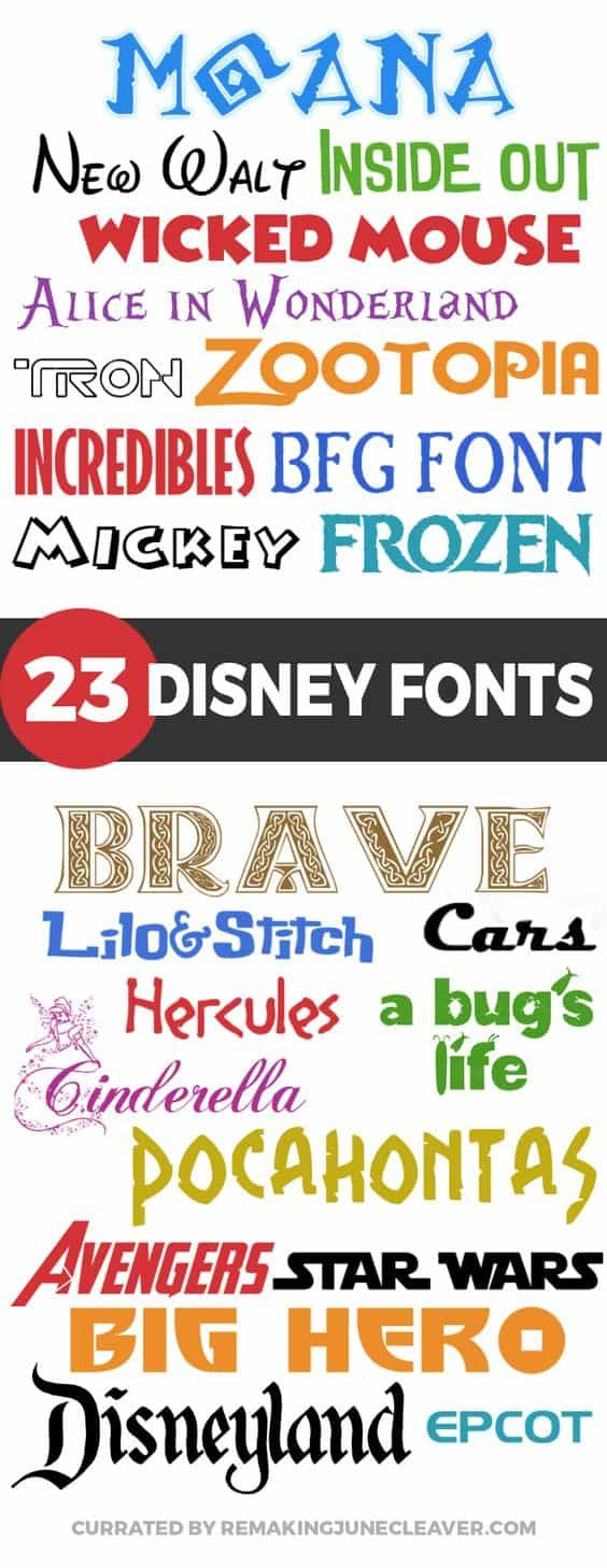 free disney font collection