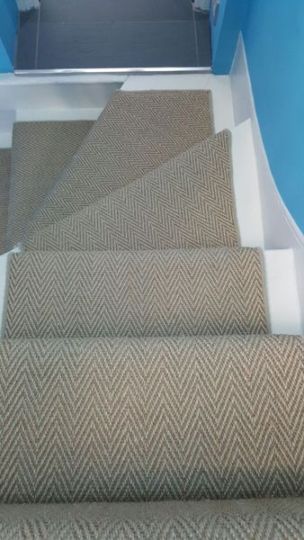 Client: Private Residence In South London  Brief: To supply & install herringbone carpet to stairs