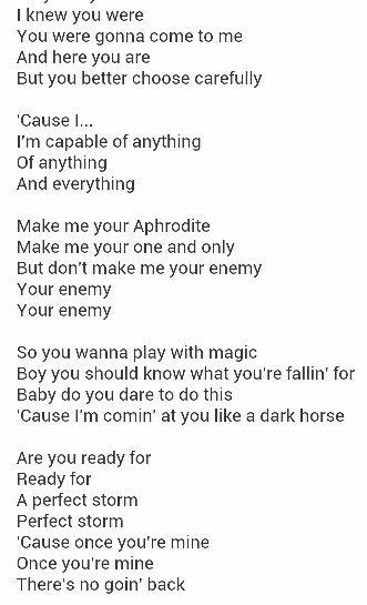 a lyrics dark horse