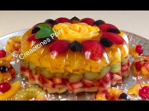 Gelatina transparente sabor piña con frutas . - YouTube