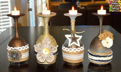 Rustic Wine Glasses Candle holders