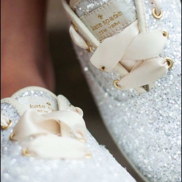 Kate spade KEDS white glitter 8 New with box. I wore these around my house- trying to make the size work but they are a little too big and I waited too long to return them. They are beautiful and very comfortable! Price is firm here- $70 M kate spade Shoes