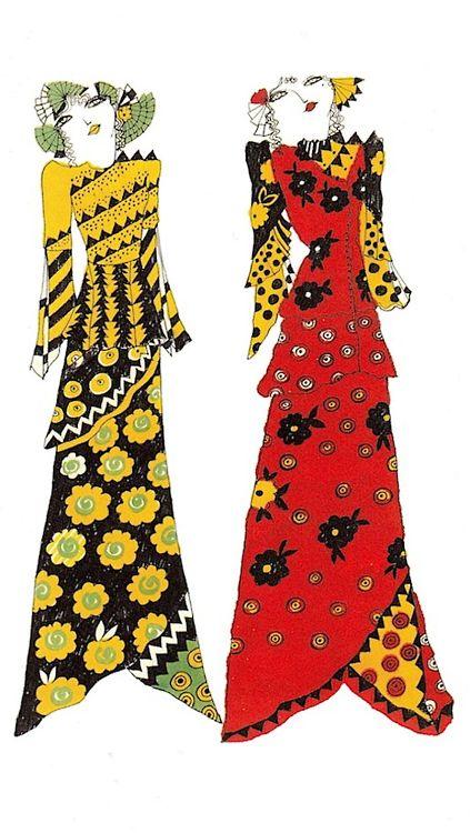 Designs from textile designer Celia Birtwell's sketchbook.