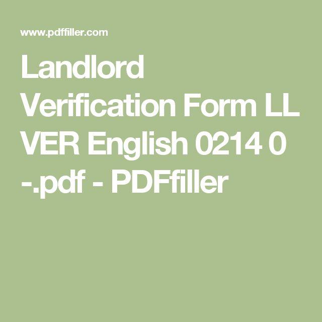 Landlord Verification Form LL VER English 0214 0 -.pdf - PDFfiller