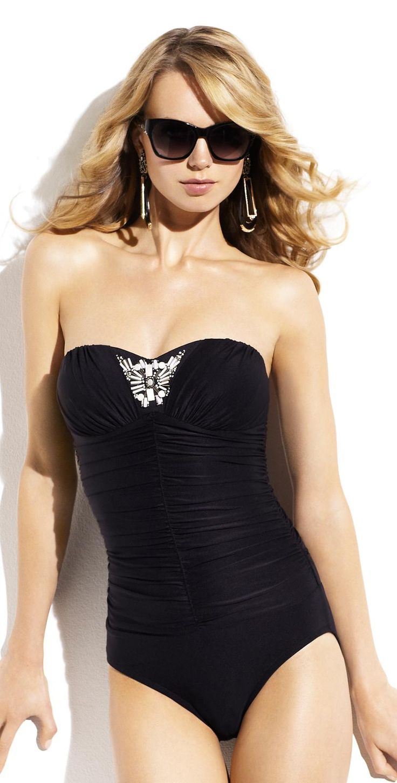#BadgleyMischka 2014 Valentina Black #BandeauSwimsuit ...