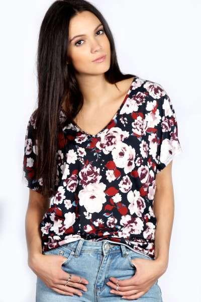 Darcy Floral Print Loose Fit V Neck Top at boohoo.com
