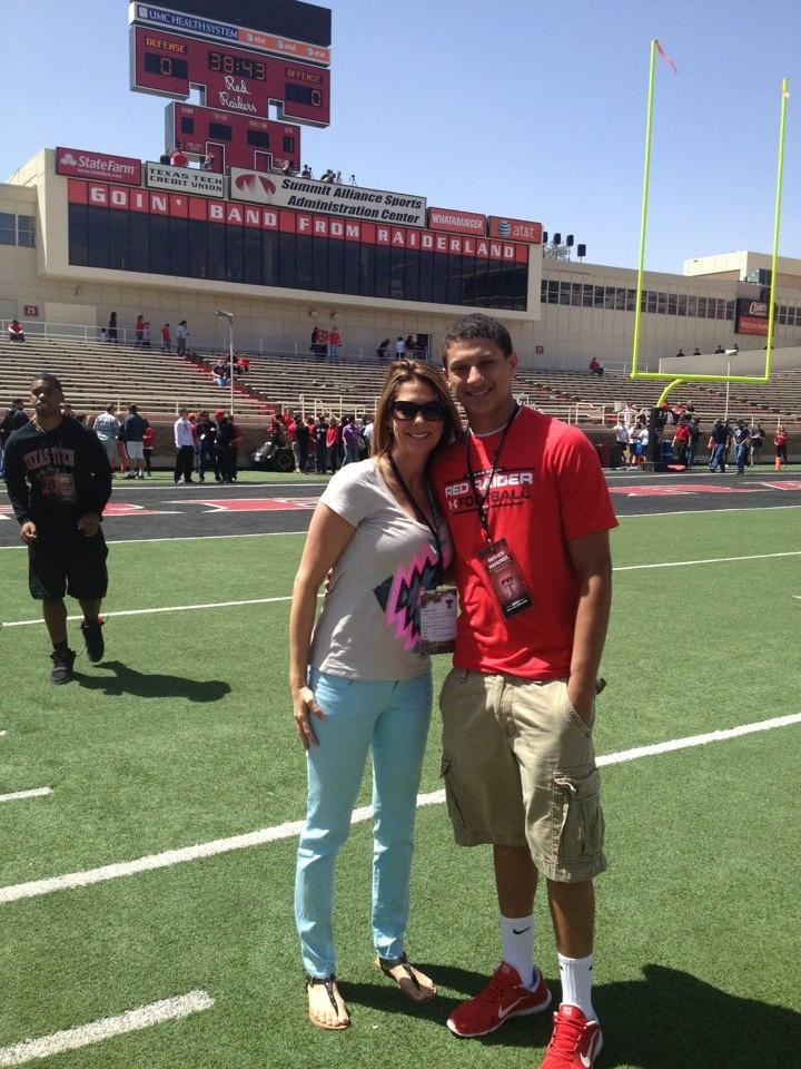 Patrick Mahomes and Mom at Texas Tech Spring Game. Patrick
