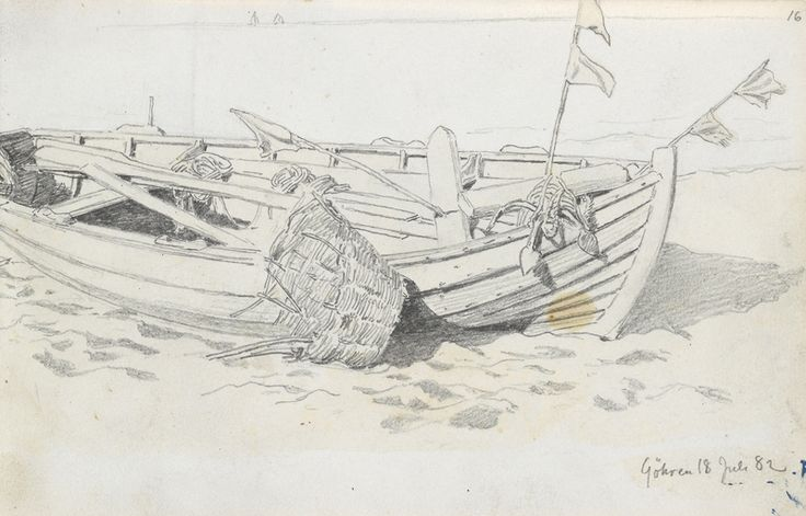 Hans Gude, Fiskebåt på stranden, Göhren. 18. juli 1882