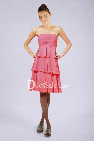Strapless Bridesmaid Gown with Tiered Knee-Length Skirt