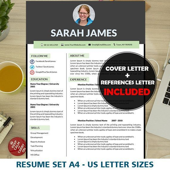 Teacher Resume Template, Elementary, Educator, Teaching Cover Letter Template, Resume Template Word, Teacher CV, Modern Resumes, 1 & 2 Pages