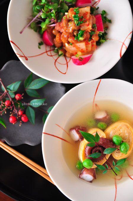「キムチ明太納豆と焼き卵の出汁漬け」 - 花ヲツマミニ