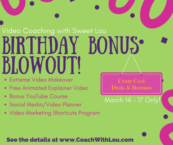 It's my Bday Bonus Blowout!  Deets at http://www.coachwithlou.com