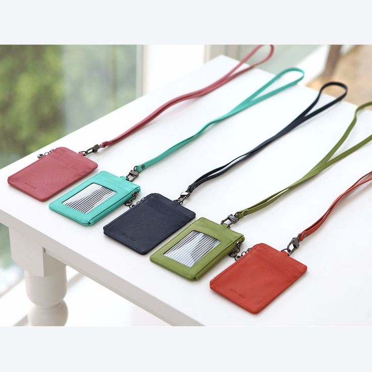 Leather ID Badge Card Money Coin Lanyard Necklace Clear Holder Zip Case Wallet #FROMB