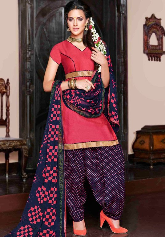 USD 30.25 Pink Cotton Satin Punjabi Suit 47613