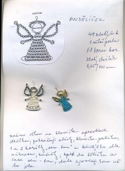 Korálky-návody-zvířátka : Korálky Věrča | Moje výrobky a rady ANDĚL, ANDĚLÍČEK NÁVOD - vánoce angel, christmas