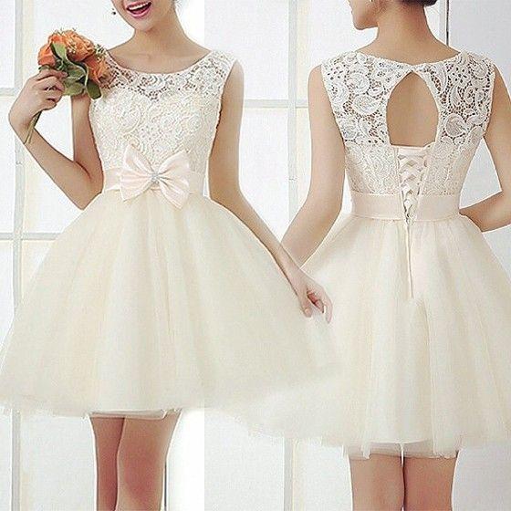 Beige Patchwork Embroidery Bow Sweet Lace Mini Dress - Mini Dresses - Dresses