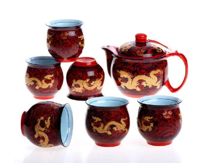 2016 Nowy 7 Sztuk Ceramiczne Smok Zestaw Herbaty Chińskie Kung Fu 1 Dzbanek do Herbaty 7 Kubki Kreatywny Dehua porcelany Czajnik Kubek zestawy