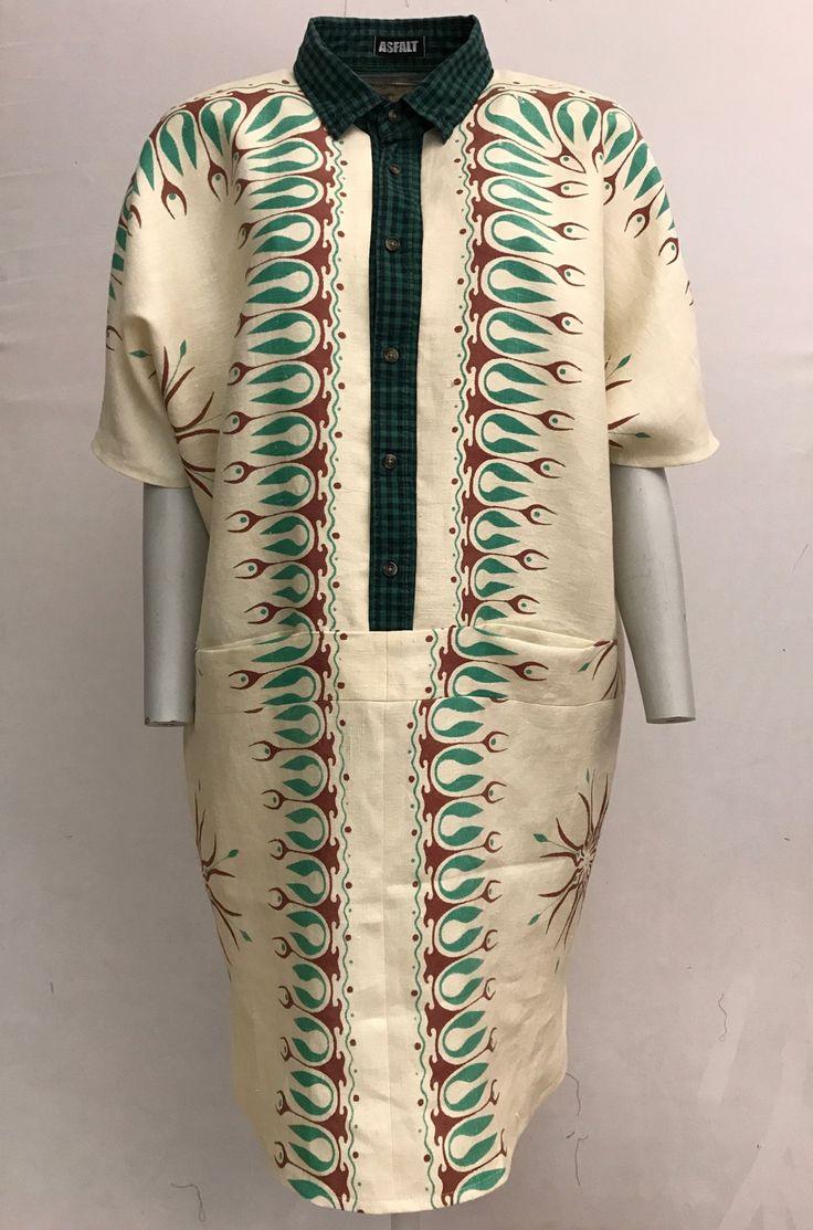 Skjortekjole i printet dug med ternet krave / ASFALT
