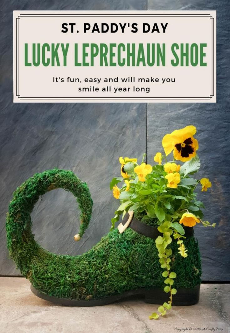 This adorable lucky leprechaun shoe planter is perfect for St. Patrick's day. Quick and easy to make, it will add some festive cheer all year round.