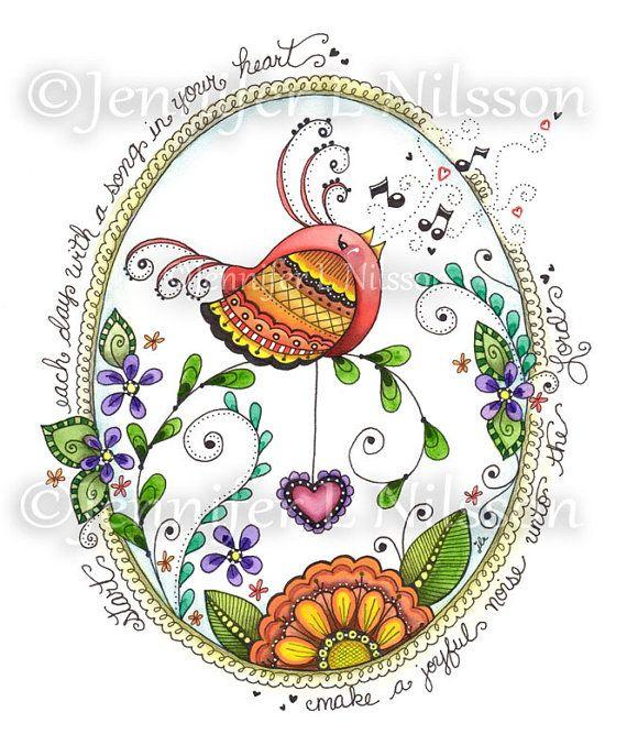 Song Bird Original ink graphite watercolor Zentangle by JLNilsson, $50.00