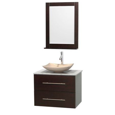 Wyndham Collection Centra 30 inch Single Bathroom Vanity, Espresso, Green Glass Countertop, Pyra White Porcelain Sink, and 24 inch Mirror