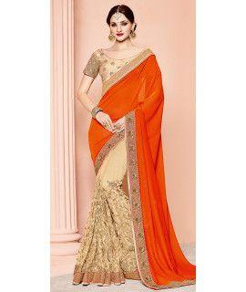 Terrified Orange And Beige Silk Saree.
