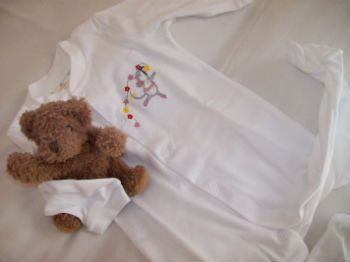 Tom & Bella sleepsuit / babygro - embroidered ballerina mouse on soft white combed cotton. http://www.tomandbella.co.za/pS1111/Combed-Cotton-Sleepsuit.aspx