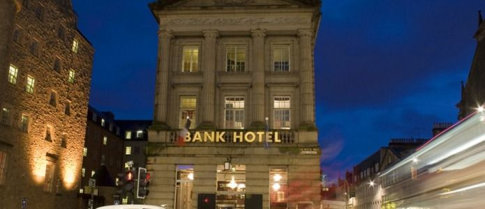 The Bank Hotel in Edinburgh, Scotland - right in the heart of the Royal Mile. Great rooms, great pub & great locations.