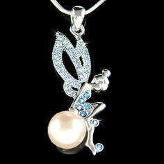 """PERFECT CHRISTMAS GIFT FOR LADIES!!!    You are getting a Fairy Angel sitting on Magic Pearl Ball Pendant with Swarovski crystals. It comes with a FREE 18 inches silver finish snake chain necklace with lobster clasp. Pendant size is 3/4 wide X 1 3/4 high (20mm X 43mm)    Crystal Color: Light Sapphire, Sapphire AB    ===================    Prices are in US$.    For shipping policies and other important information, click on """"profile"""" on the right.    See an item that you like but has already…"""
