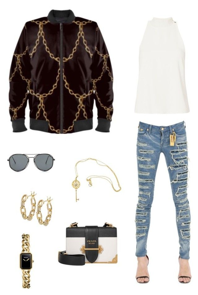 """""""The chains that bind us"""" jacket ootd by guutanii on Polyvore featuring polyvore, fashion, style, A.L.C., Robin's Jean, Prada, Chanel, TILDA BIEHN, Tiffany & Co. and clothing"""