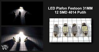 LED Plafon Festoon 31MM 12 SMD 4014 Putih Heatsink, lampu LED khusus digunakan untuk penerangan interior kabin kendaraan memiliki cahaya yang sangat terang.
