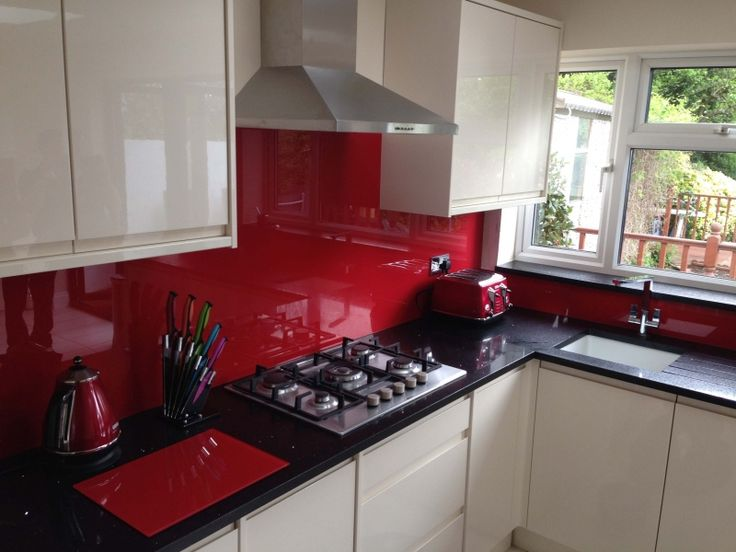 Red And Silver Kitchen Ideas Glass Splashbacks Kitchen Worktops And Kitchen Accessories On Glass Splashbacks