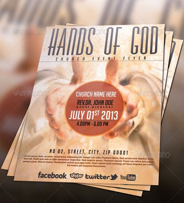 Hands of god church flyer festivals church and hands for Church psd templates free