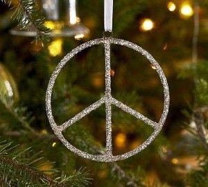 My peace sign ornaments! PB! Got the whole tree set 5 years ago. It's my fav! Gotta love pottery barn!