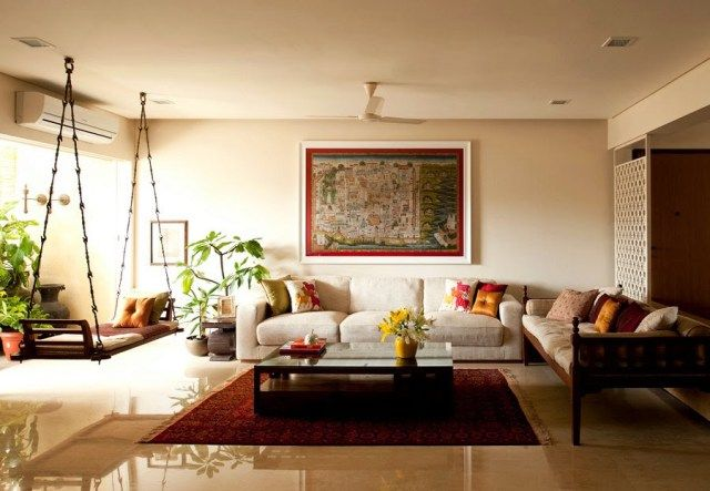 Traditional Indian Homes with a Swing Tall architectural greenery